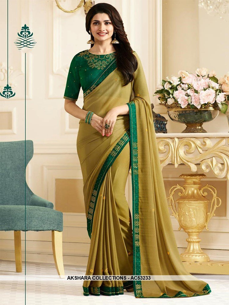 AC53233 - Pear Green Color Georgette Saree