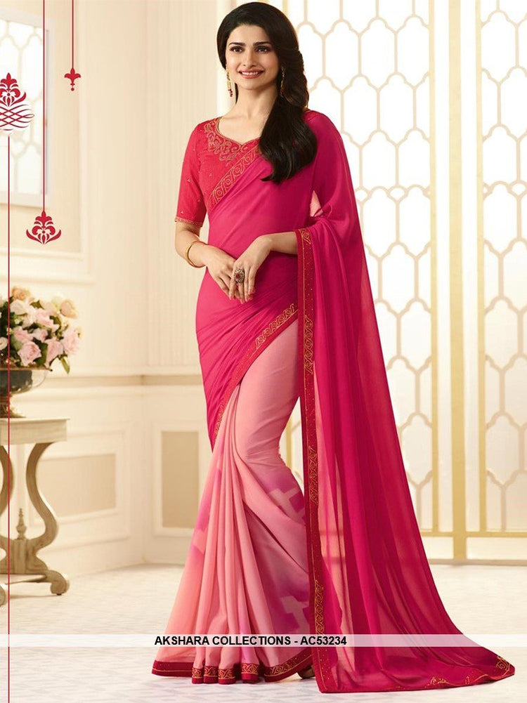 AC53234 - Dark Pink and Baby Pink Color Georgette Half N Half Saree