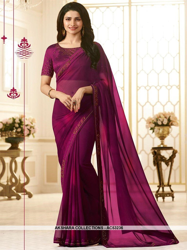 AC53236 - Wine Color Georgette Saree