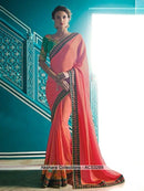 AC53289 - Orange Satin Silk Saree