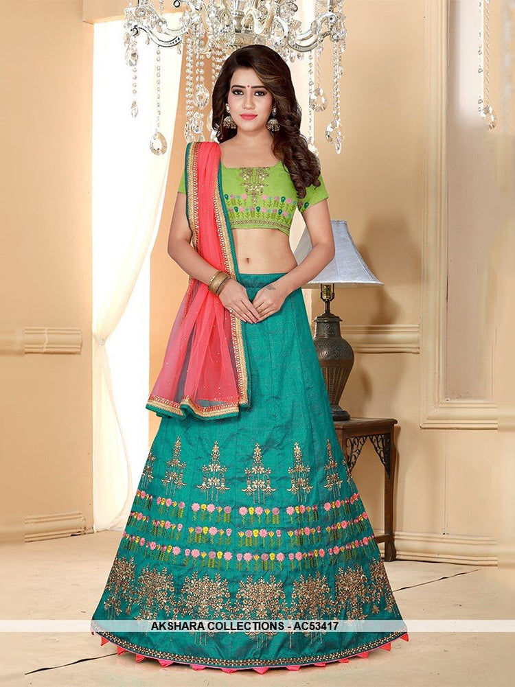 AC53417 - Teal Color Melbourne Silk Lehenga Choli