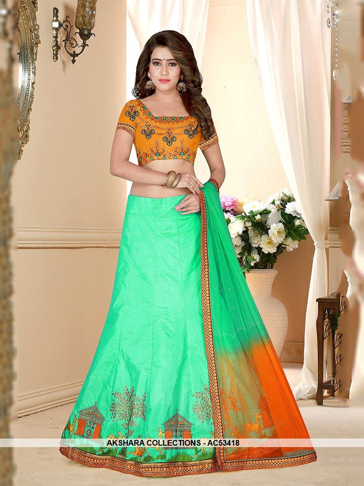 AC53418 - Pista Green Color Silk Lehenga Choli