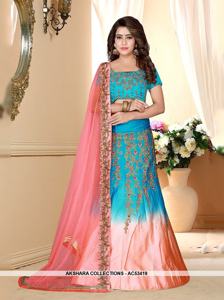 AC53419 - Blue and Peach Color Satin Lehenga Choli