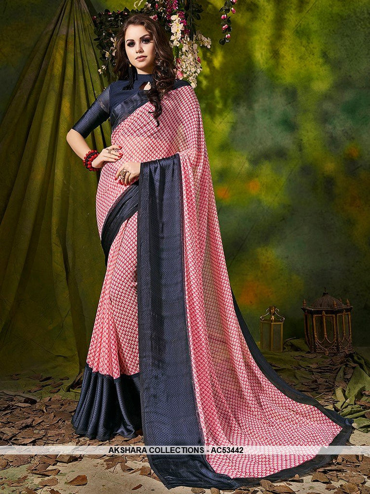 AC53442 - Red and Grey Color Satin Silk Saree