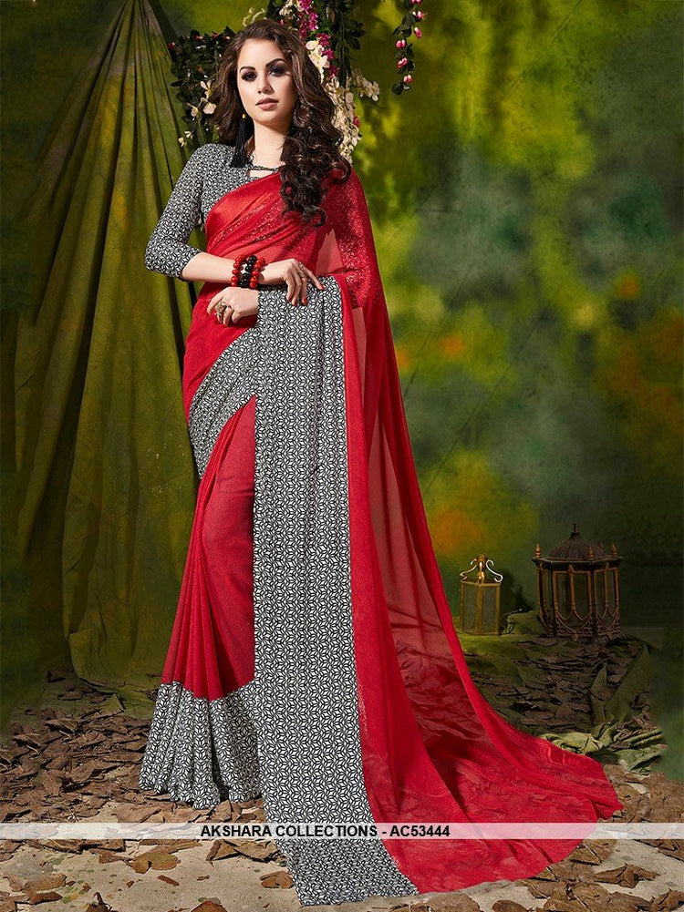 AC53444 - Red and Grey Color Satin Silk Saree