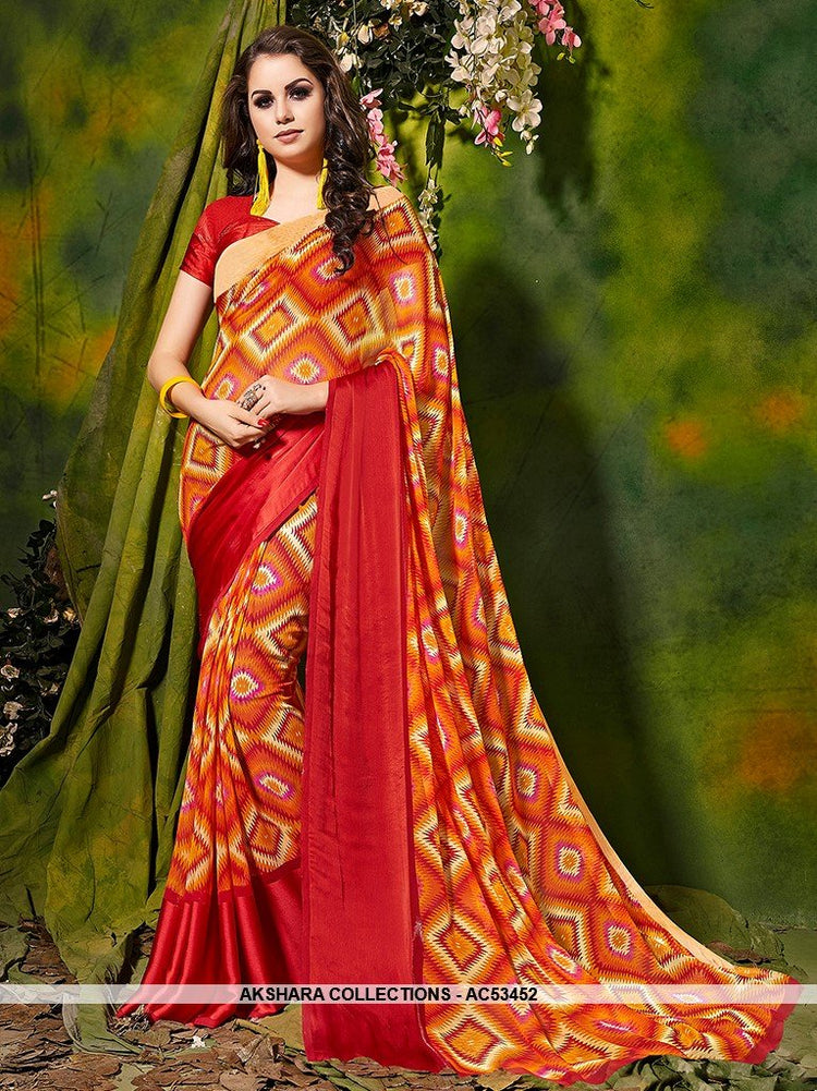 AC53452 - Orange and Red Color Satin Silk Saree