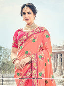 AC53479 - Peach and Red Color Pure Silk and Jacquard Half N Half Saree