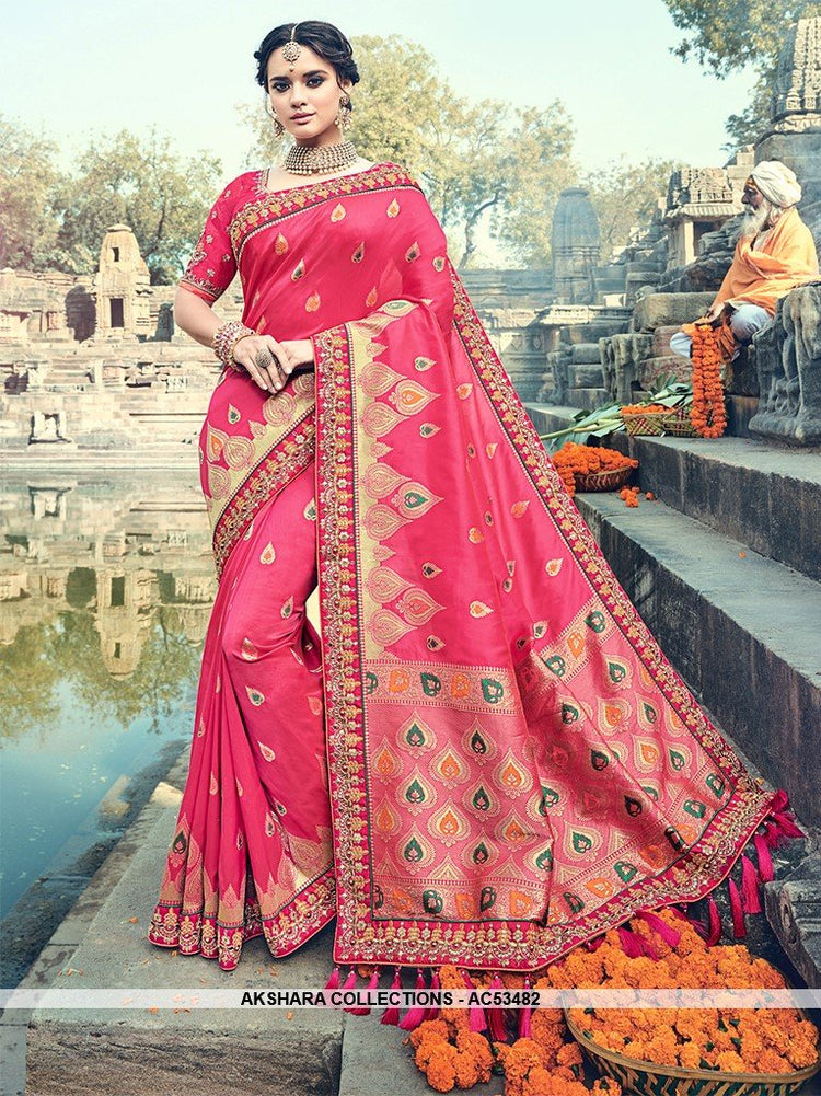 AC53482 - Maroon Color Pure Silk and Jacquard Saree