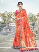 AC53486 - Orange Color Pure Silk and Jacquard Saree