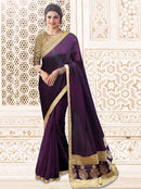 AC53495 - Dark Purple Color  Soft Silk Saree
