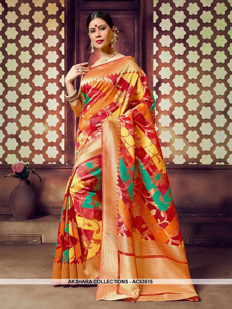 AC53515 - Multi Color Banarasi Art Silk Saree