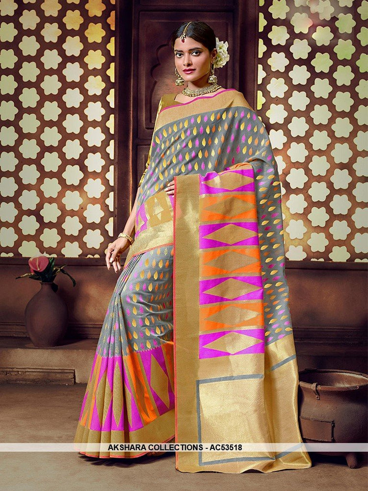 AC53518 - Grey Color Banarasi Art Silk Saree