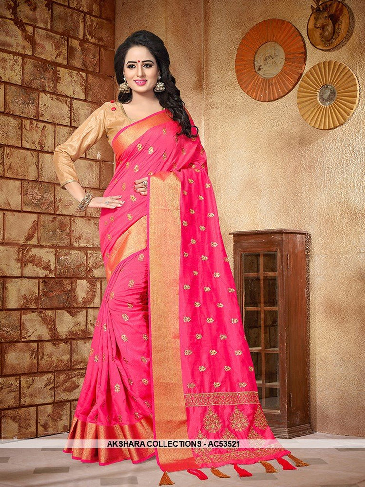 AC53521 - Fuschia Pink Color Soft Silk Sarees