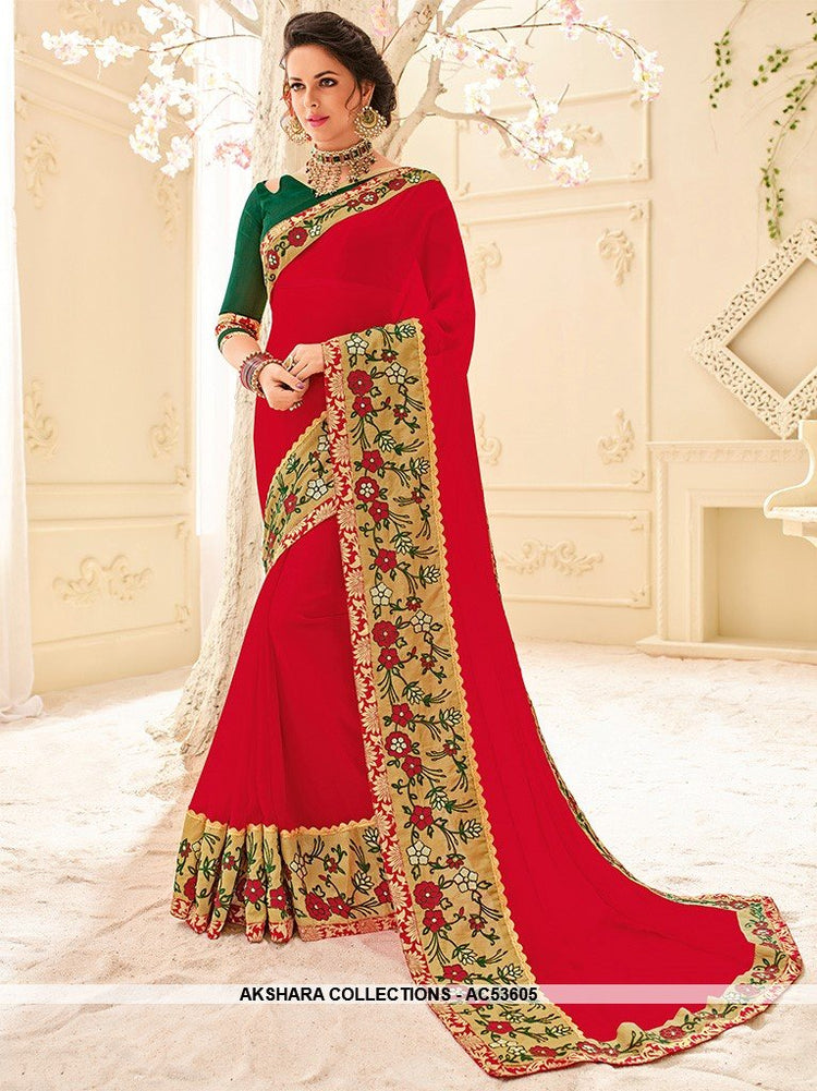 AC53605 - Red Color Georgette Saree