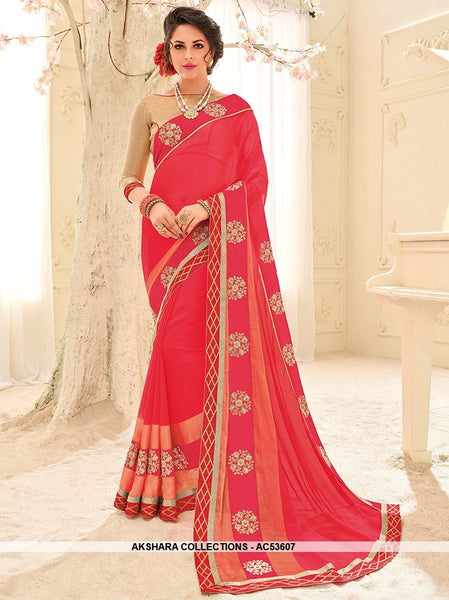 AC53607 - Pink Color Chiffon Saree