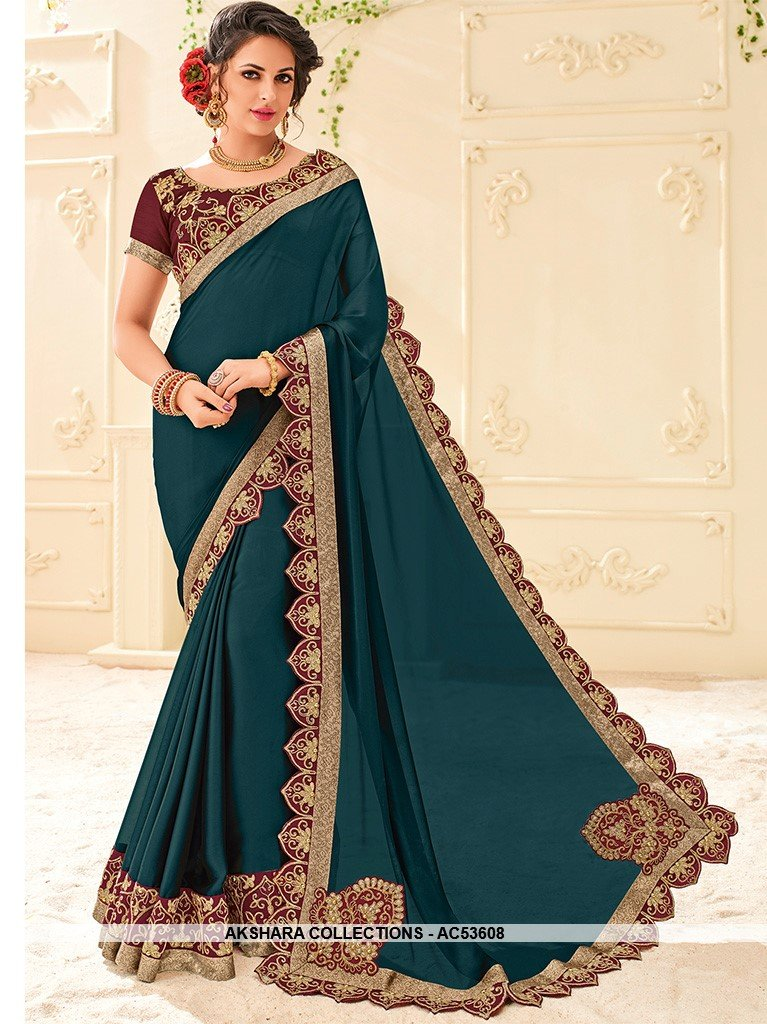 AC53608 - Prussian Blue Color Georgette Saree