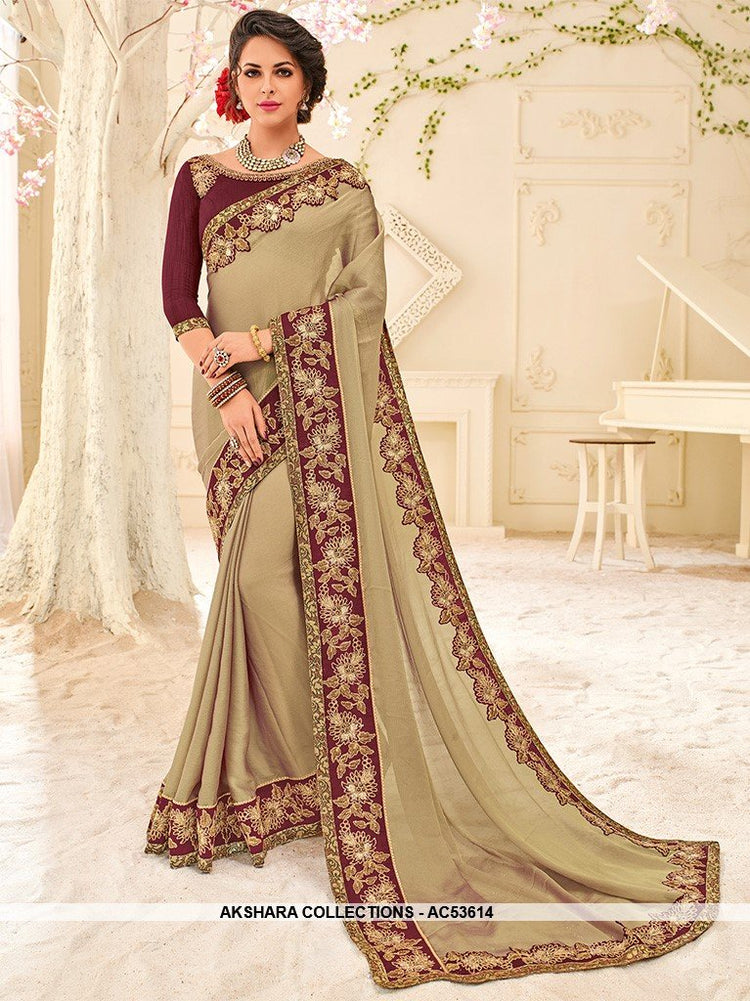 AC53614 - Light Khaki Color Chiffon Saree