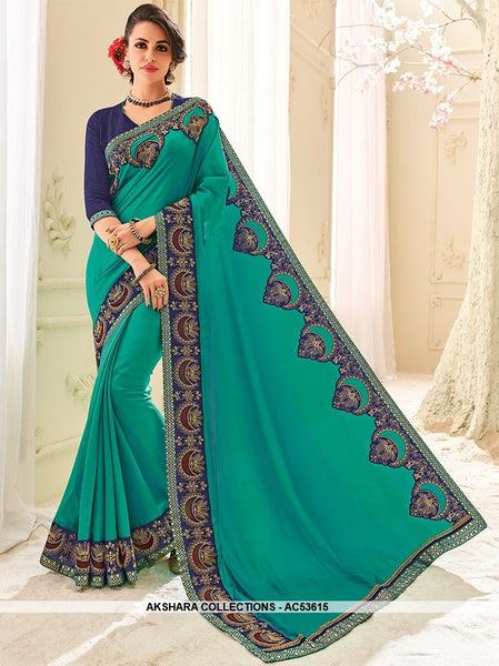 AC53615 - Turquoise Blue Color Silk Saree