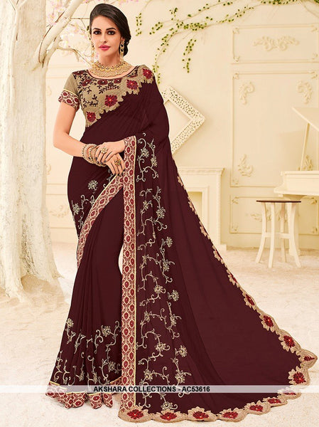 AC53616 - Dark Wine Color Georgette Saree