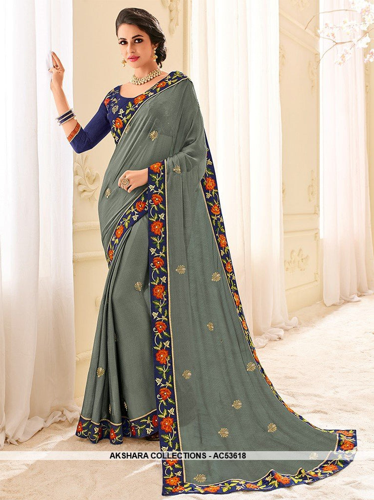 AC53618 - Grey Color Chiffon Saree