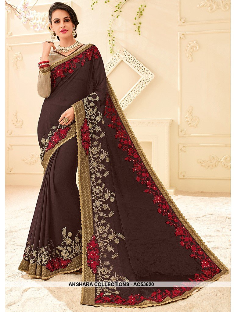 AC53620 - Dark Grey Color Chiffon Saree