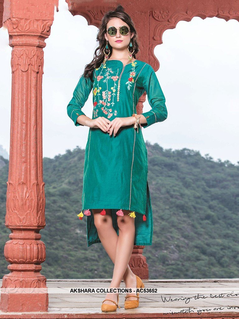 AC53652 - Teal Blue Color Chanderi Silk Kurti