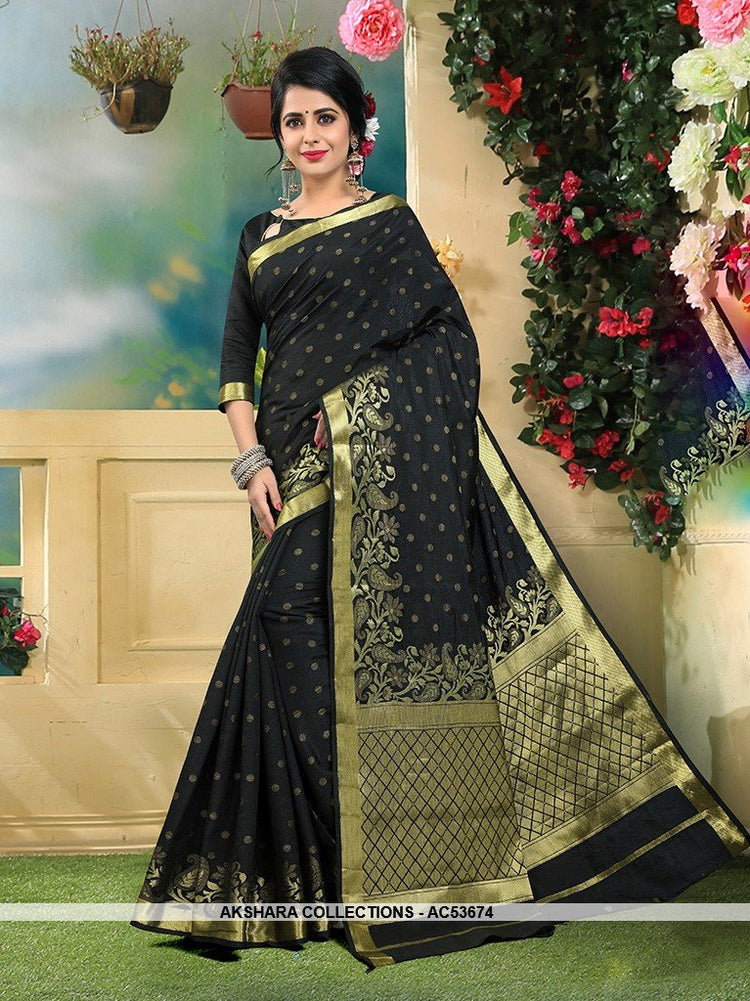 AC53674 - Black Color Art Silk Saree