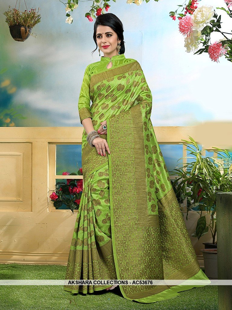 AC53676 - Green Color Art Silk Saree