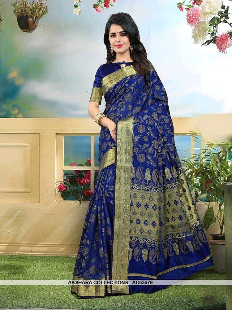 AC53679 - Royal Blue Color Art Silk Saree