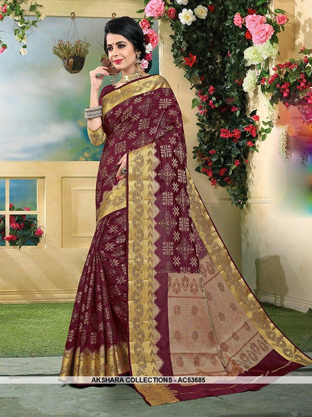 AC53685 - Wine Color Art Silk Saree