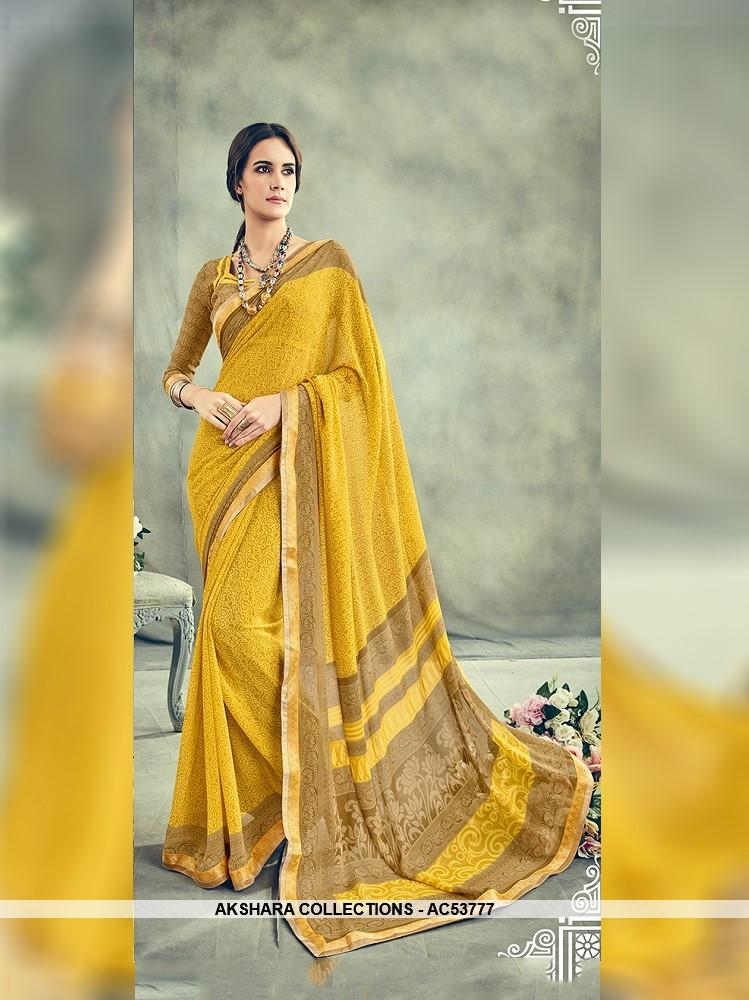 AC53777 - Yellow Color Georgette Saree
