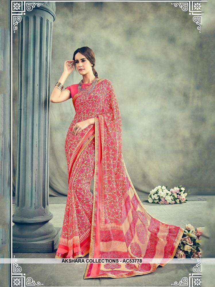 AC53778 - Pink Color Georgette Saree