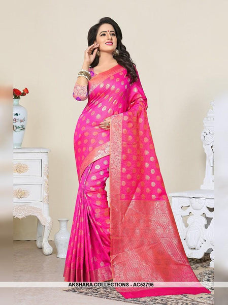 AC53795 - Fuschia Pink Color Banarasi Art Silk Saree