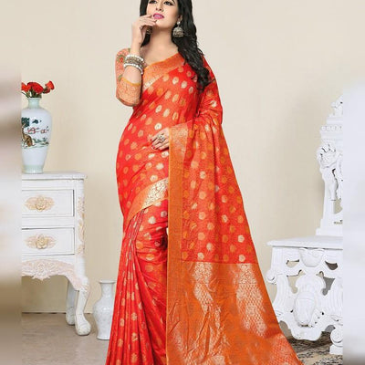 AC53796 - Orange Color Banarasi Art Silk Saree