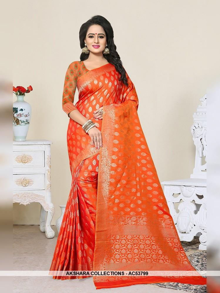 AC53799 - Orange Color Banarasi Art Silk Saree