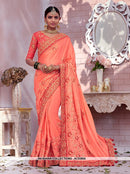 AC53804 - Light Orange Color Modal Satin Saree