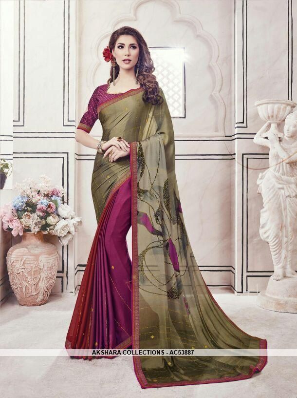 AC53887 - Brown and Purple Color Chiffon and Fancy Jacquard Saree