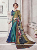 AC53888 - Brown,Green and Blue Color Chiffon and Fancy Jacquard Saree