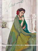 AC53890 - Teal and Dark Sea Green Color Chiffon and Fancy Jacquard Saree