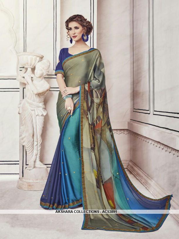 AC53891 - Beige and Blue Color Chiffon and Fancy Jacquard Saree