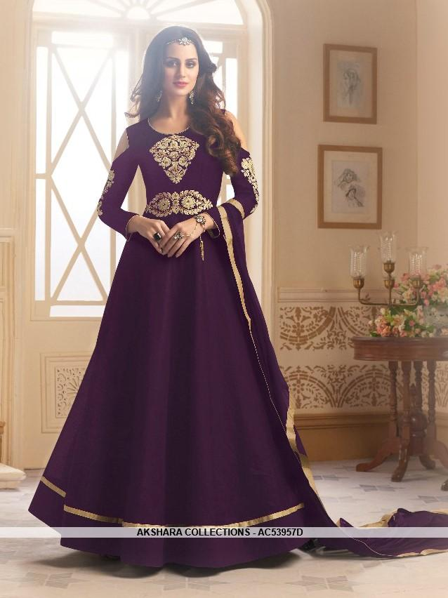 AC53957D - Violet Color Tafeta Silk Anarkali Suit