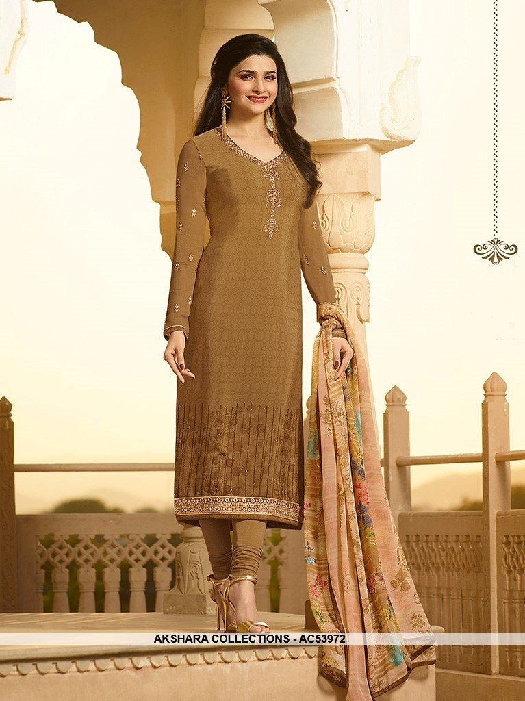 AC53972 - Light Brown Color Crepe Salwar Kameez