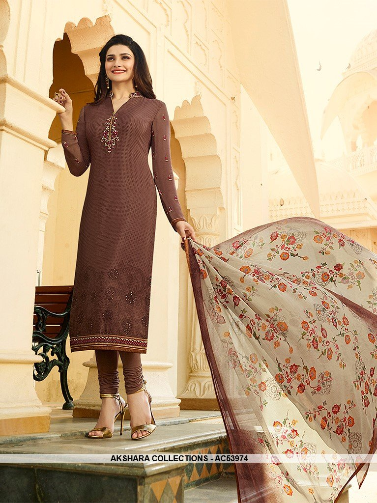 AC53974 - Dark Brown Color Crepe Salwar Kameez
