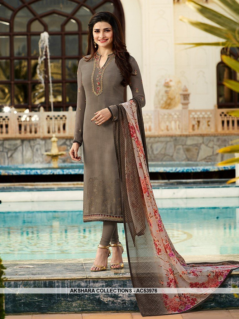 AC53976 - Grey Color Crepe Salwar Kameez