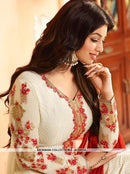 AC54132 - Off White Color Georgette Brasso Churidar Suit