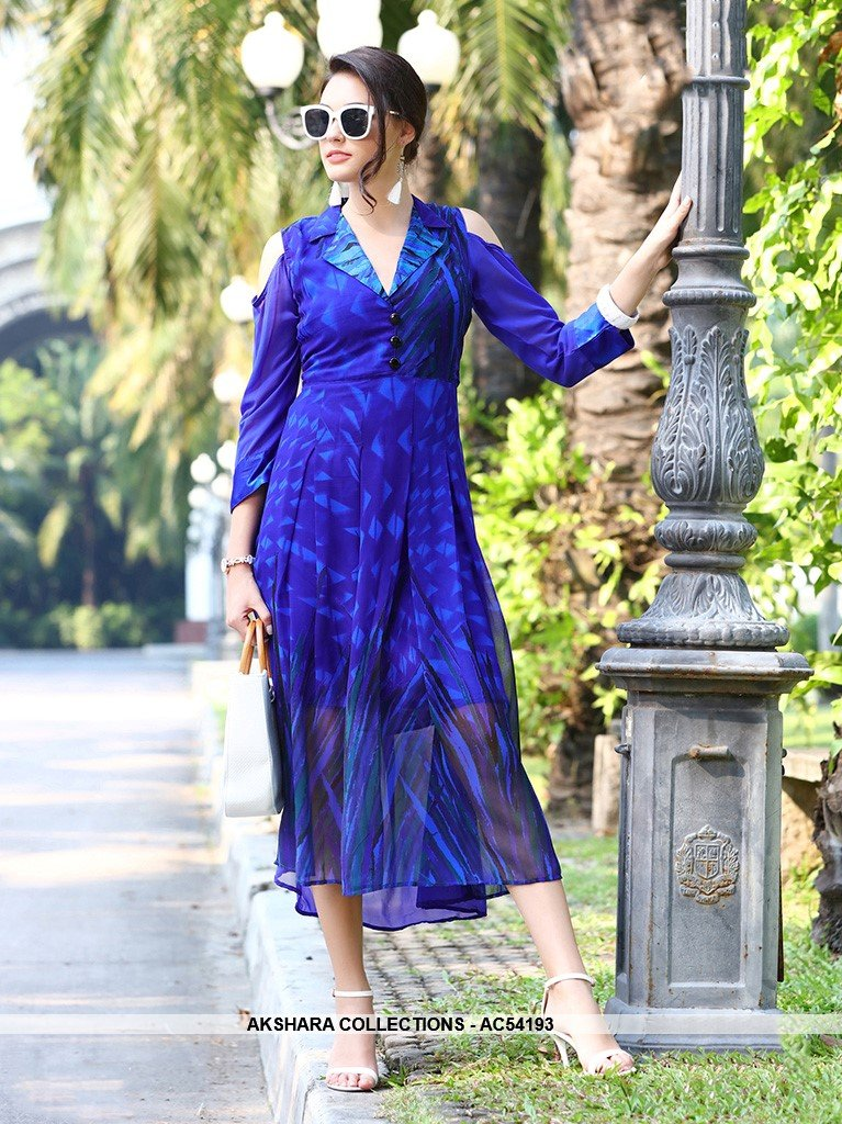 AC54193 - Royal Blue Georgette Kurti