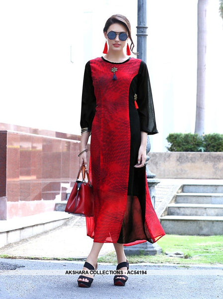 AC54194 - Red and Black Georgette Kurti
