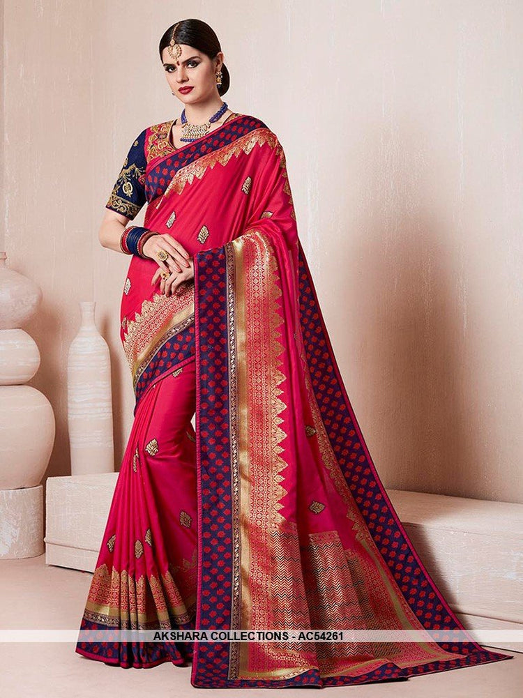 AC54261 - Dark Pink Banarasi Silk and Jacquard Saree