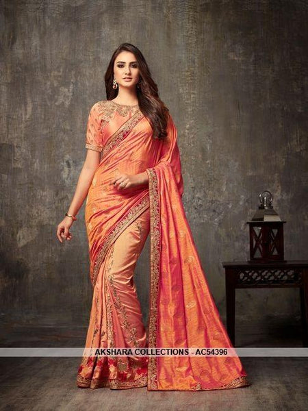 AC54396 - Orange Silk Saree