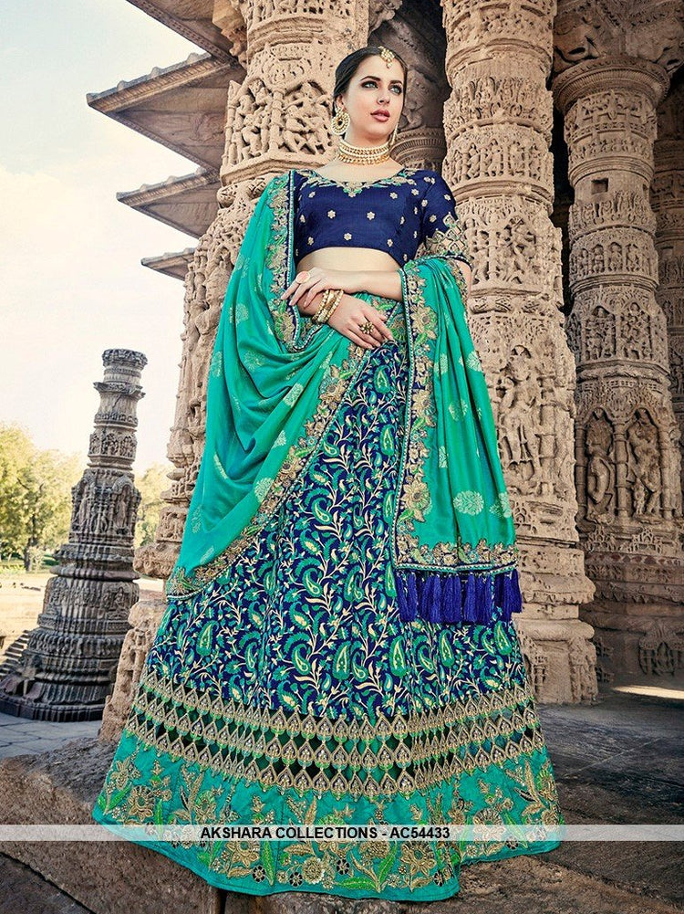 AC54433 - Navy Blue Color Silk Lehenga Choli